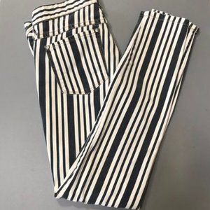 Free People Navy/White Striped Skinny Jeans